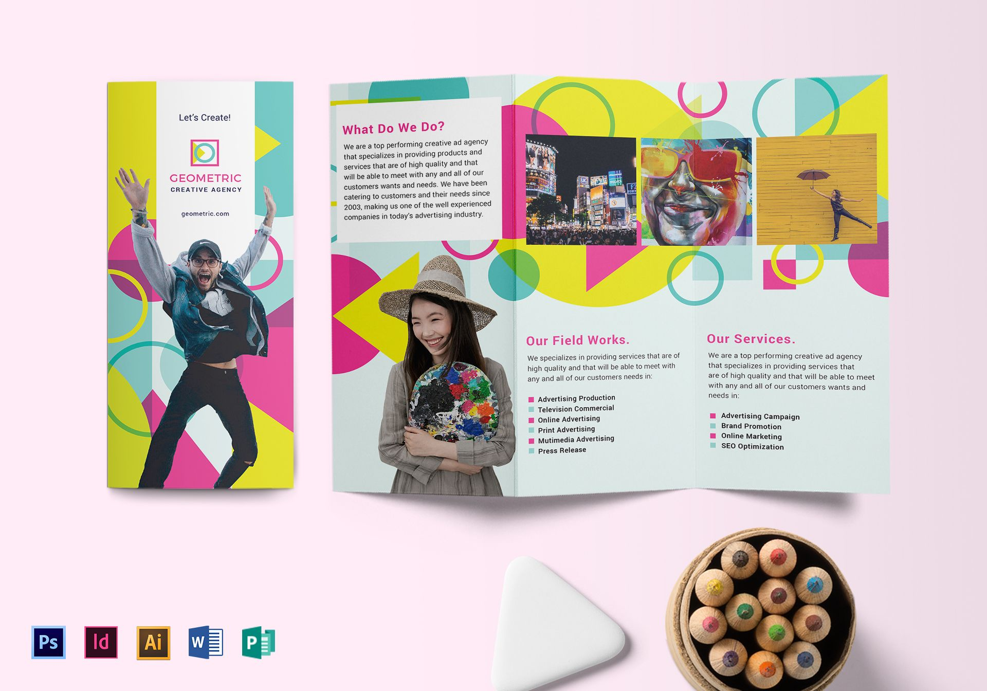 Geometric Bubble Speech Brochure