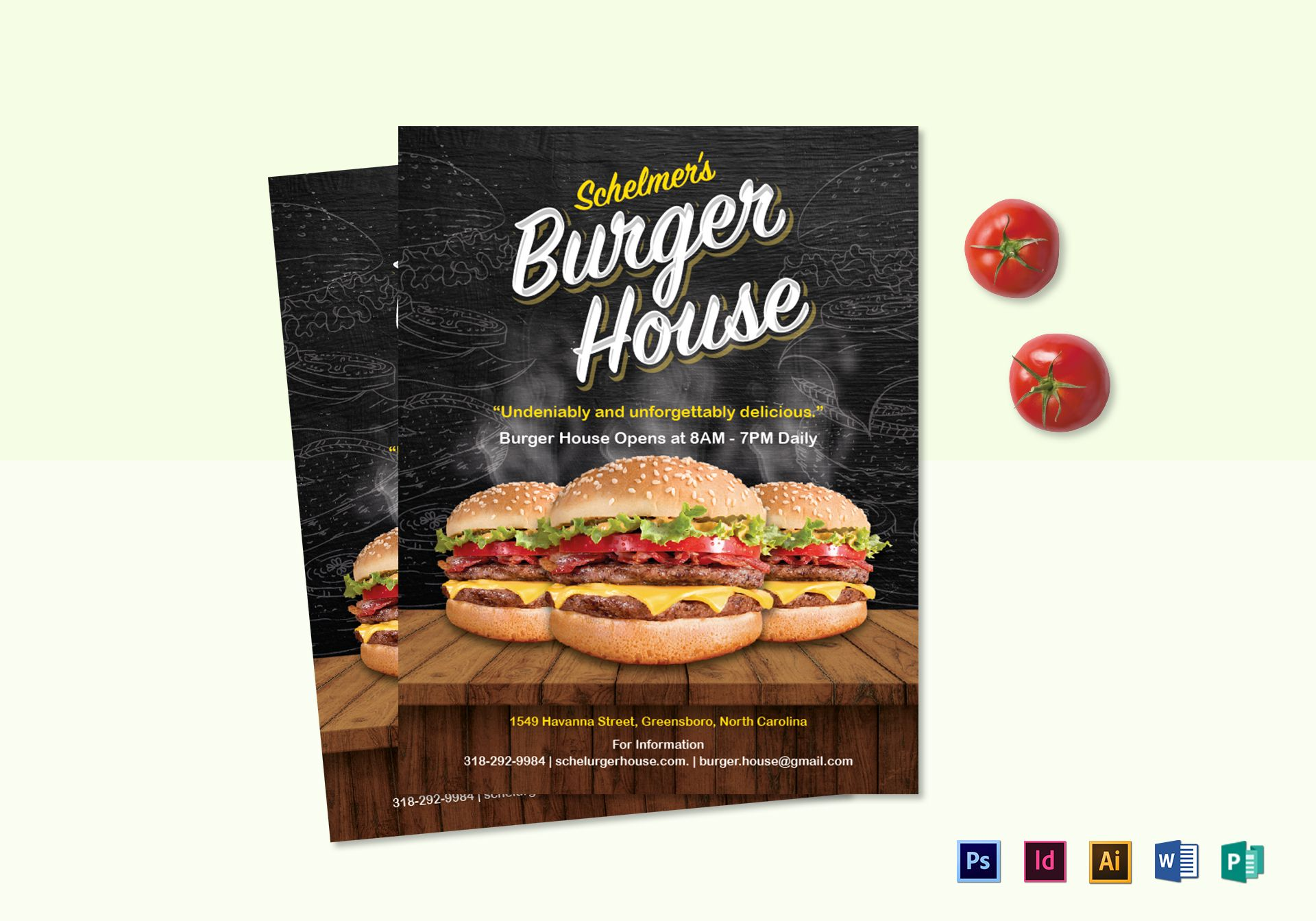 Burger House Flyer Design Template In Psd Word Publisher