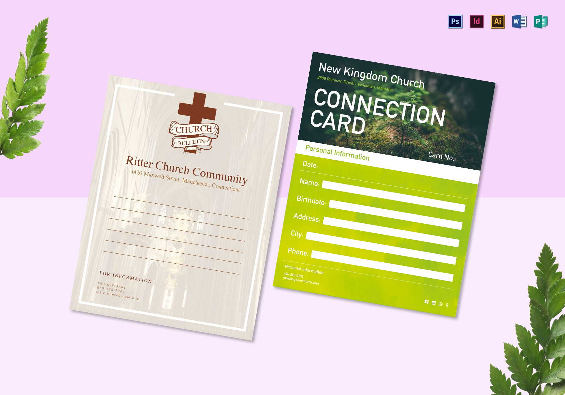church bulletin and connect card flyer design template in psd word