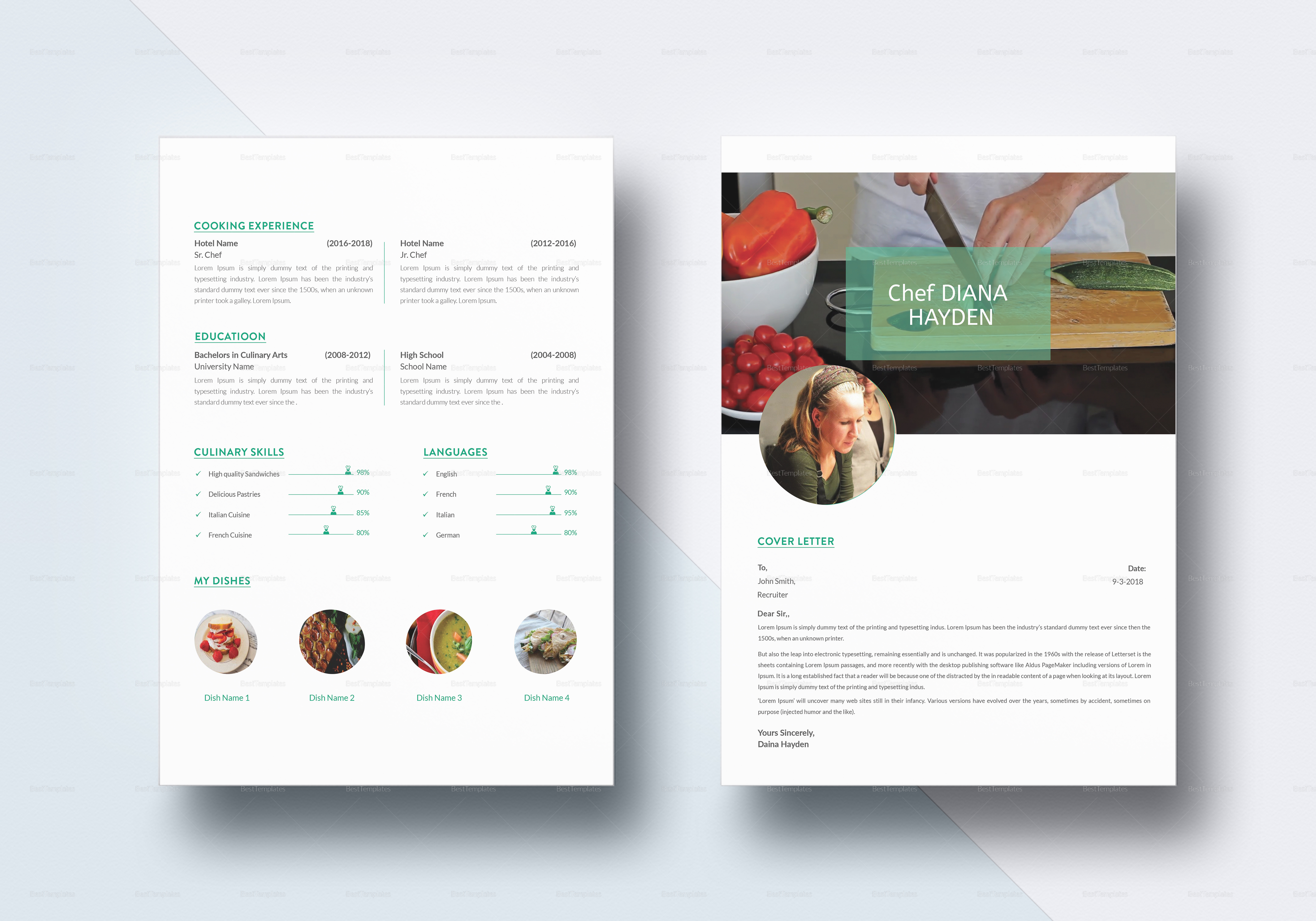 Chef Resume Design Template In PSD, Word, Publisher, InDesign, Apple Pages