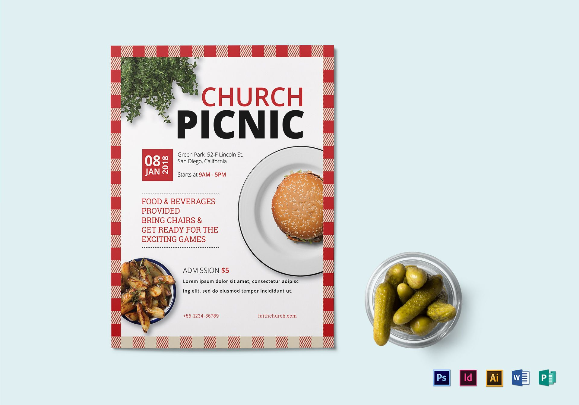 church picnic flyer design template in psd  word  publisher  illustrator  indesign