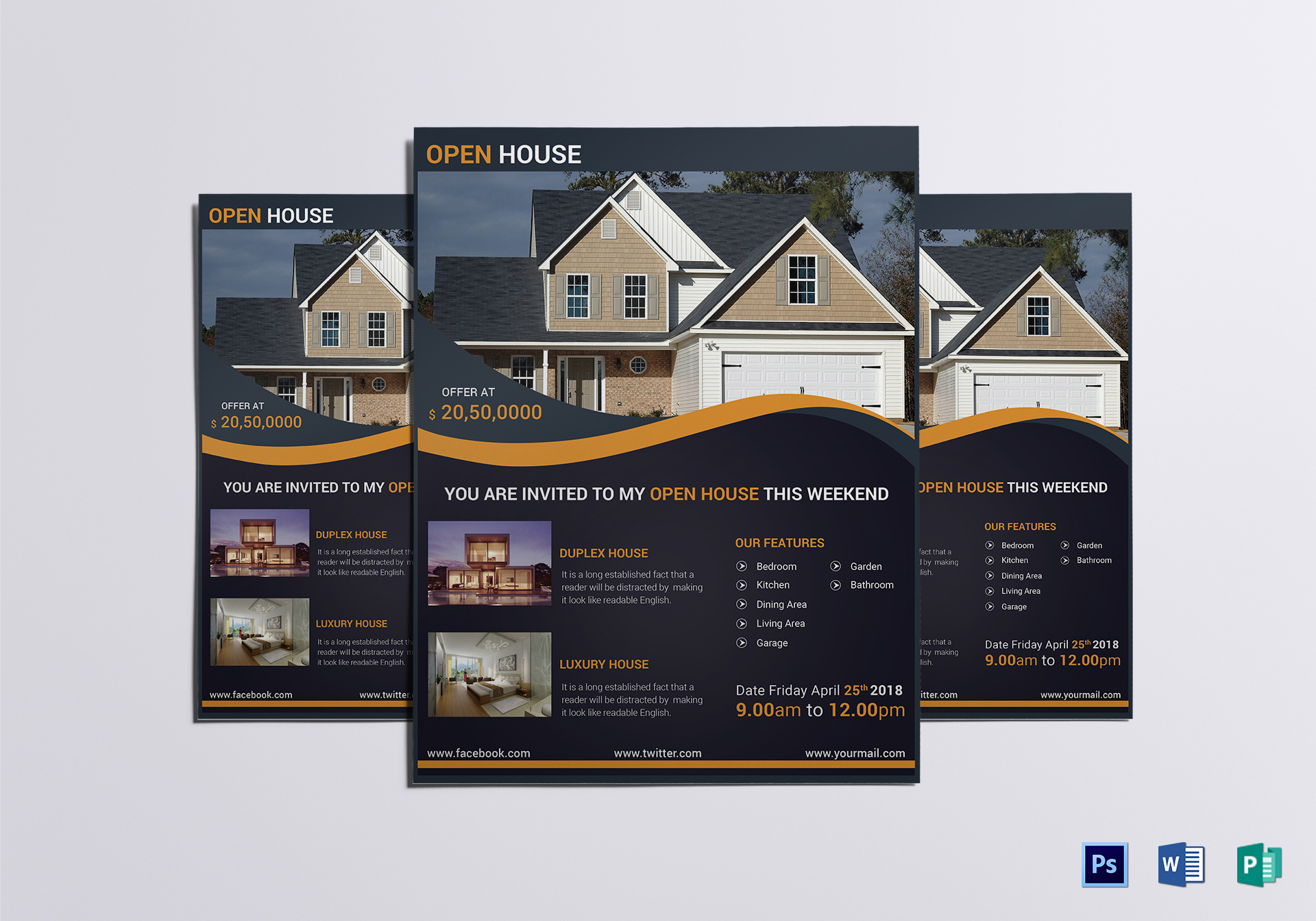 luxury open house flyer design template in word psd publisher