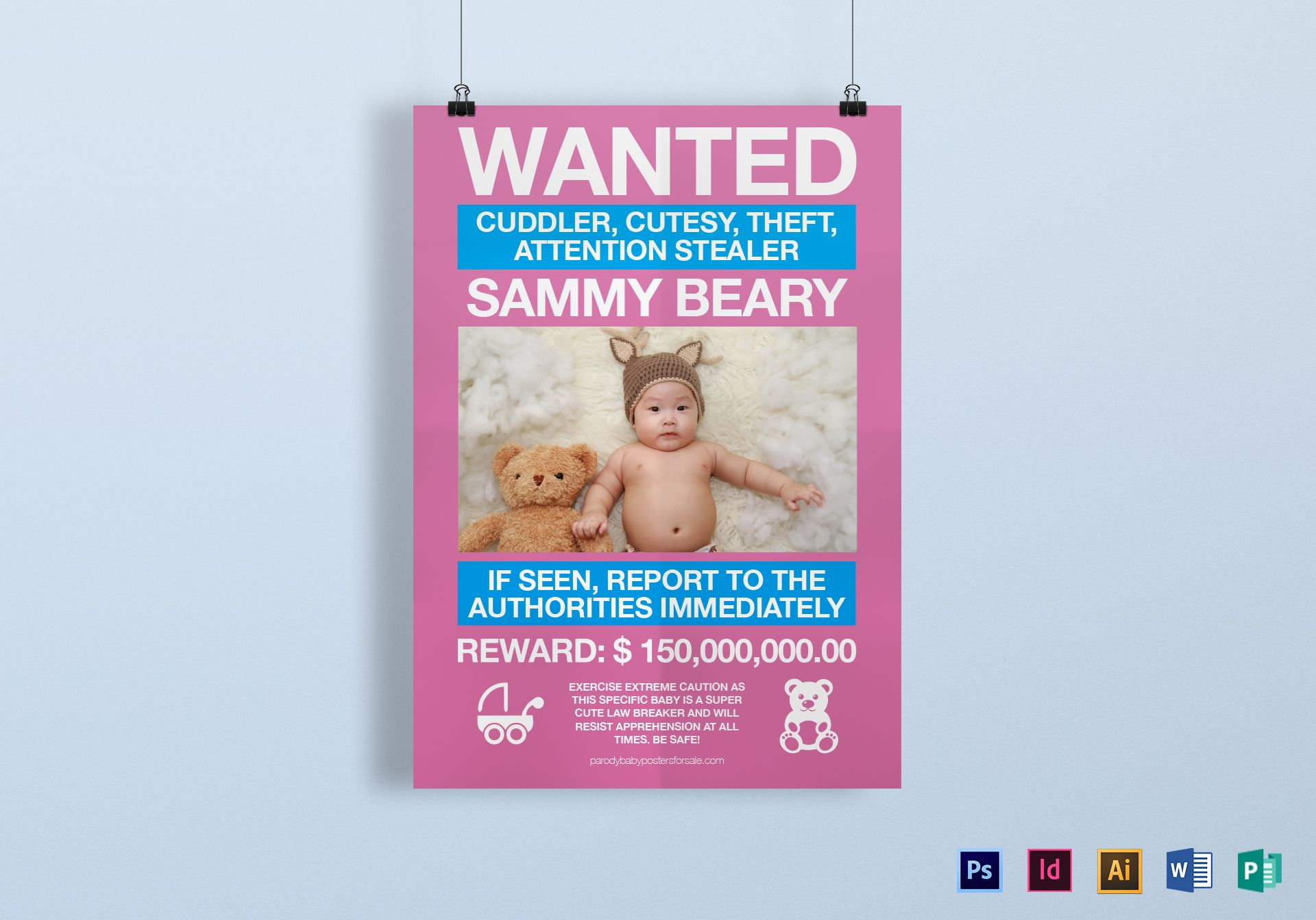 Funny Kids Wanted Poster Design Template in PSD Word Publisher