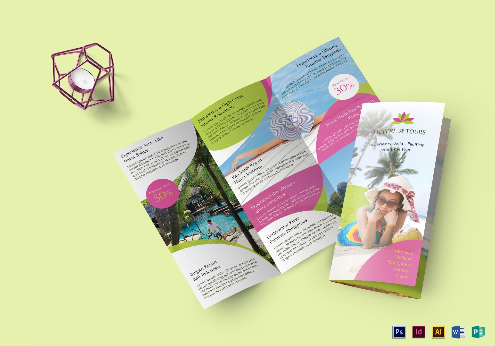 Travel and tour brochure design template in psd word for Tour brochure template