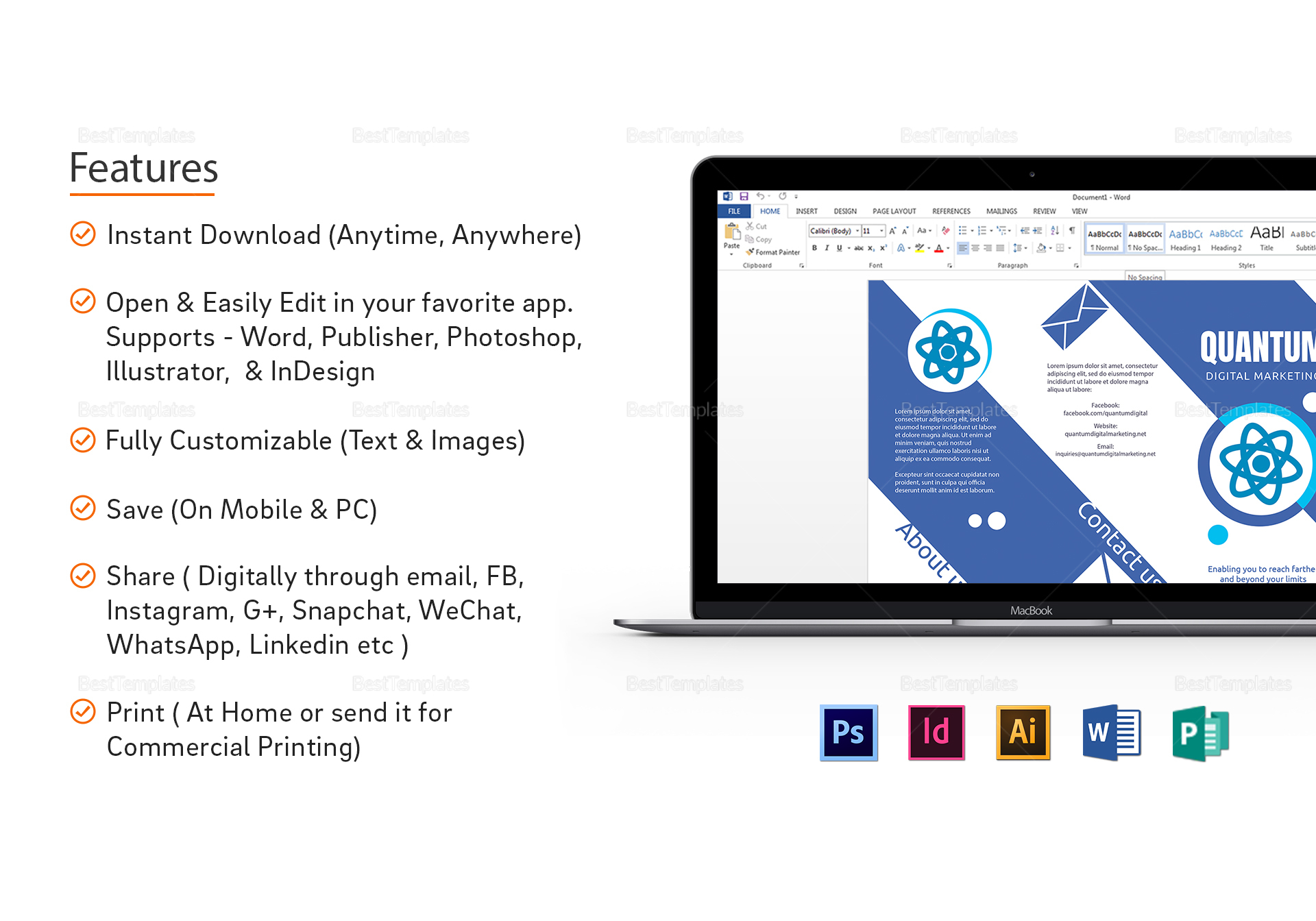 Flat Design Digital Marketing Brochure to Edit