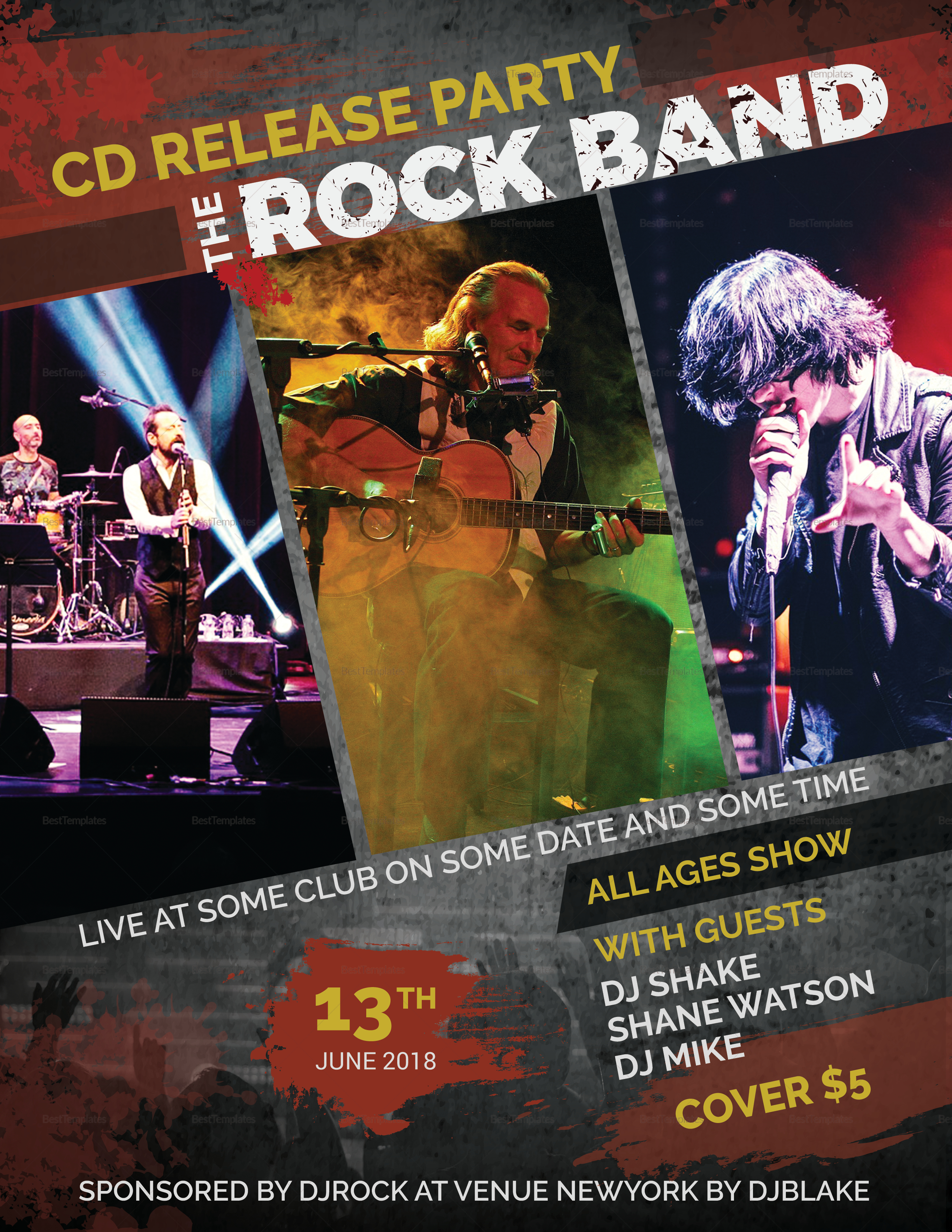 Rock Band Flyer Design Template In Psd Word Publisher