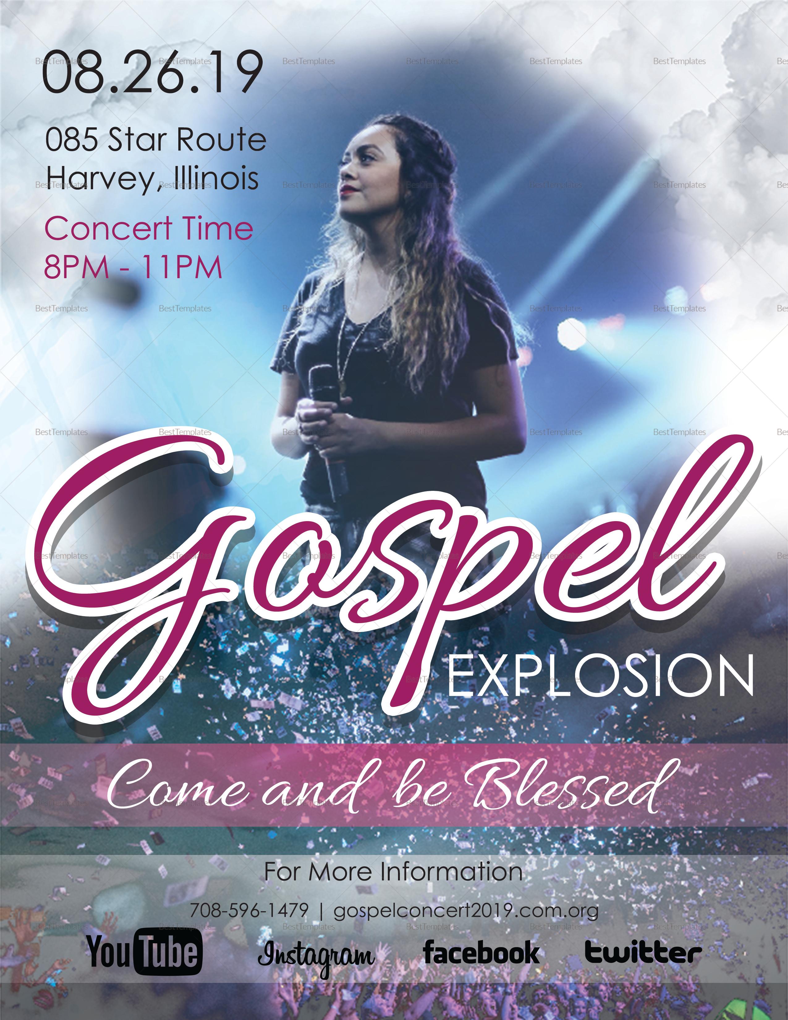 Gospel Explosion Flyer Design Template In Psd Word Publisher