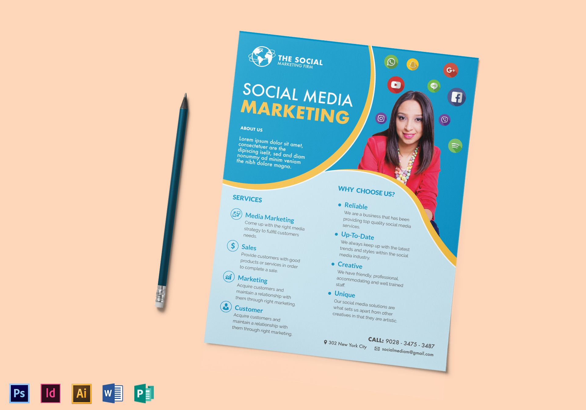 Marketing Flyer | Social Media Marketing Flyer Design Template In Psd Word Publisher