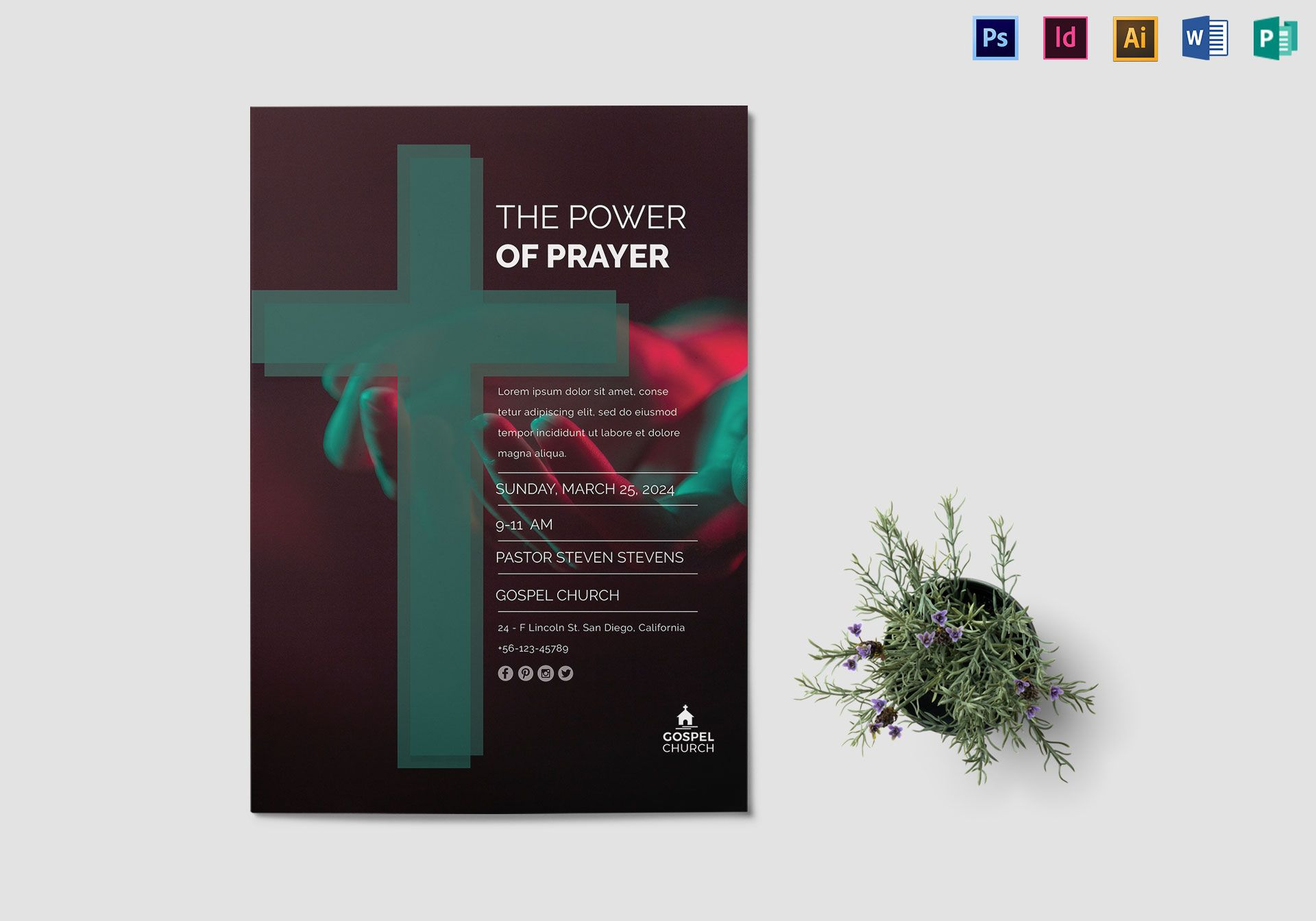 The Power Of Prayer Church Flyer Design Template In Psd Word