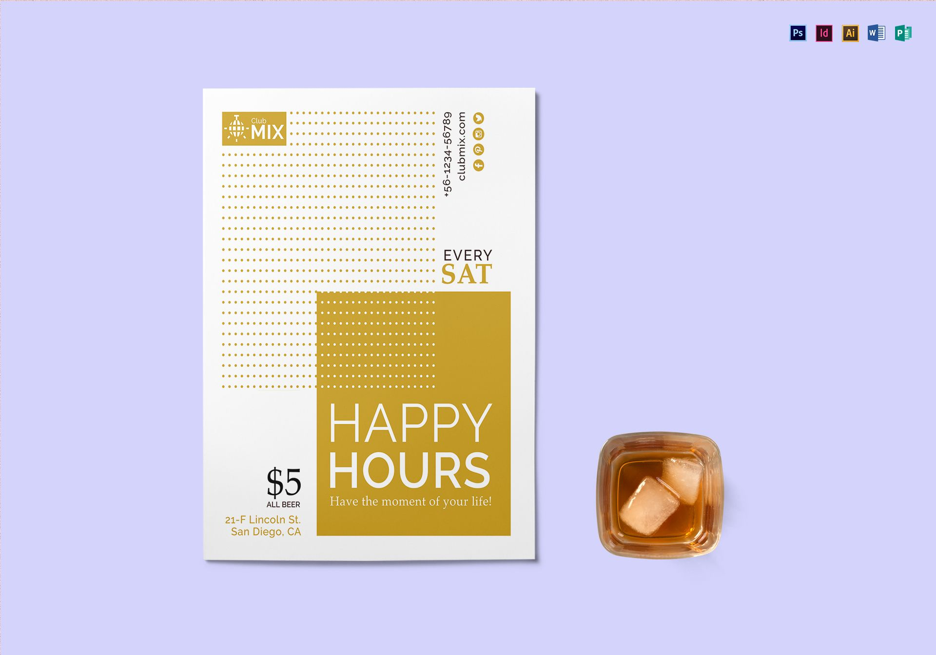 Minimal Happy Hour Flyer