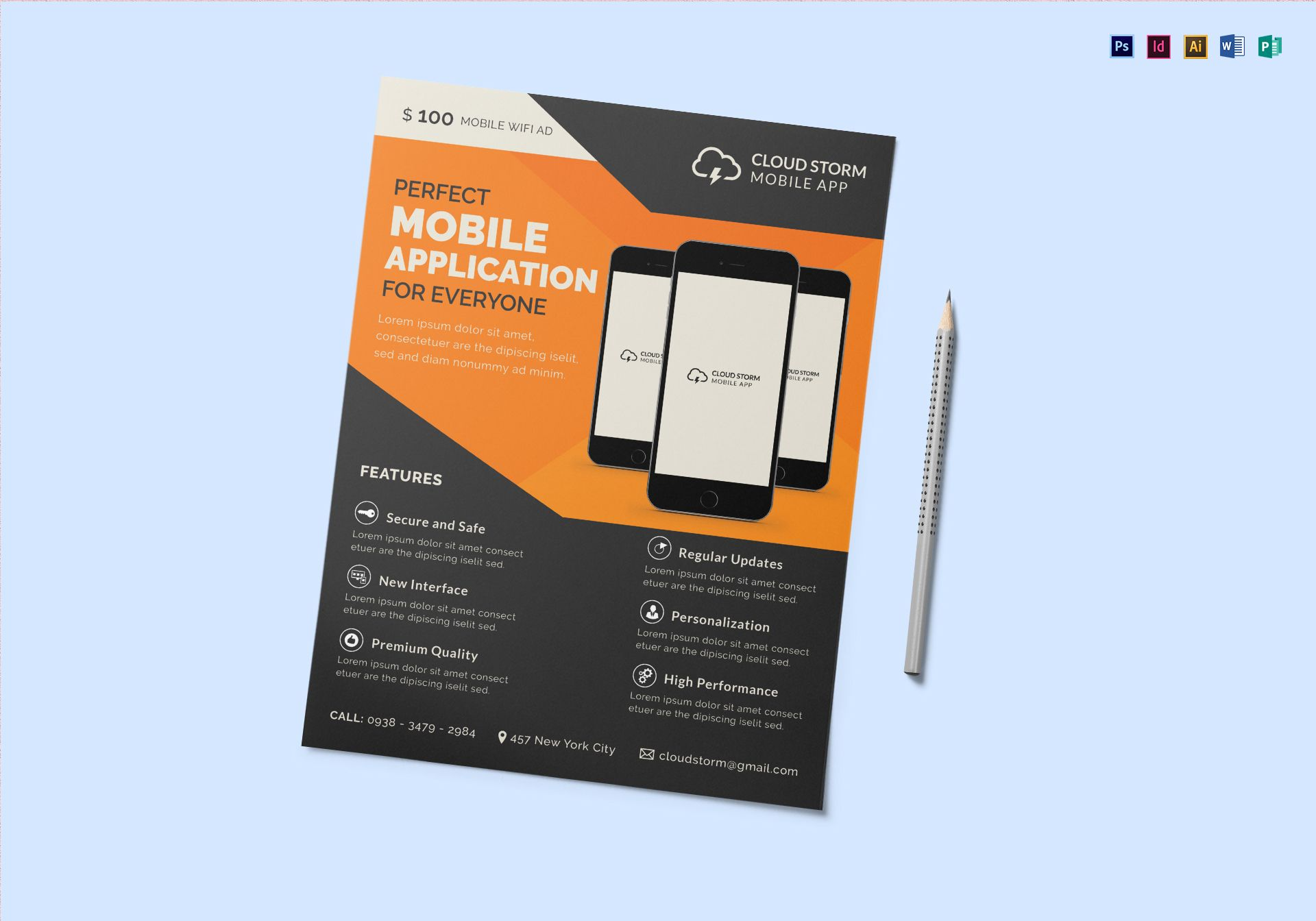 Mobile app flyer design template in psd word publisher for Mobile app terms and conditions template