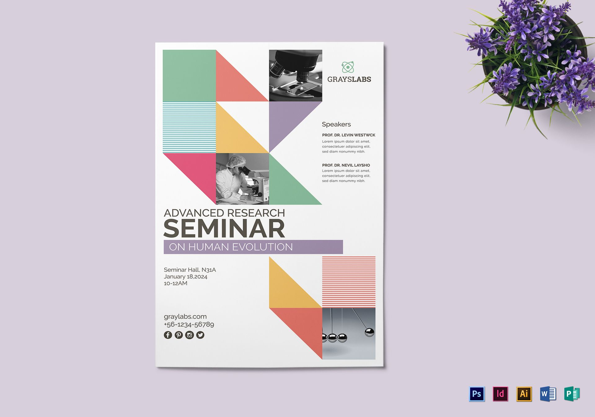 Seminar Poster Design Template in PSD, Word, Publisher, Illustrator ...