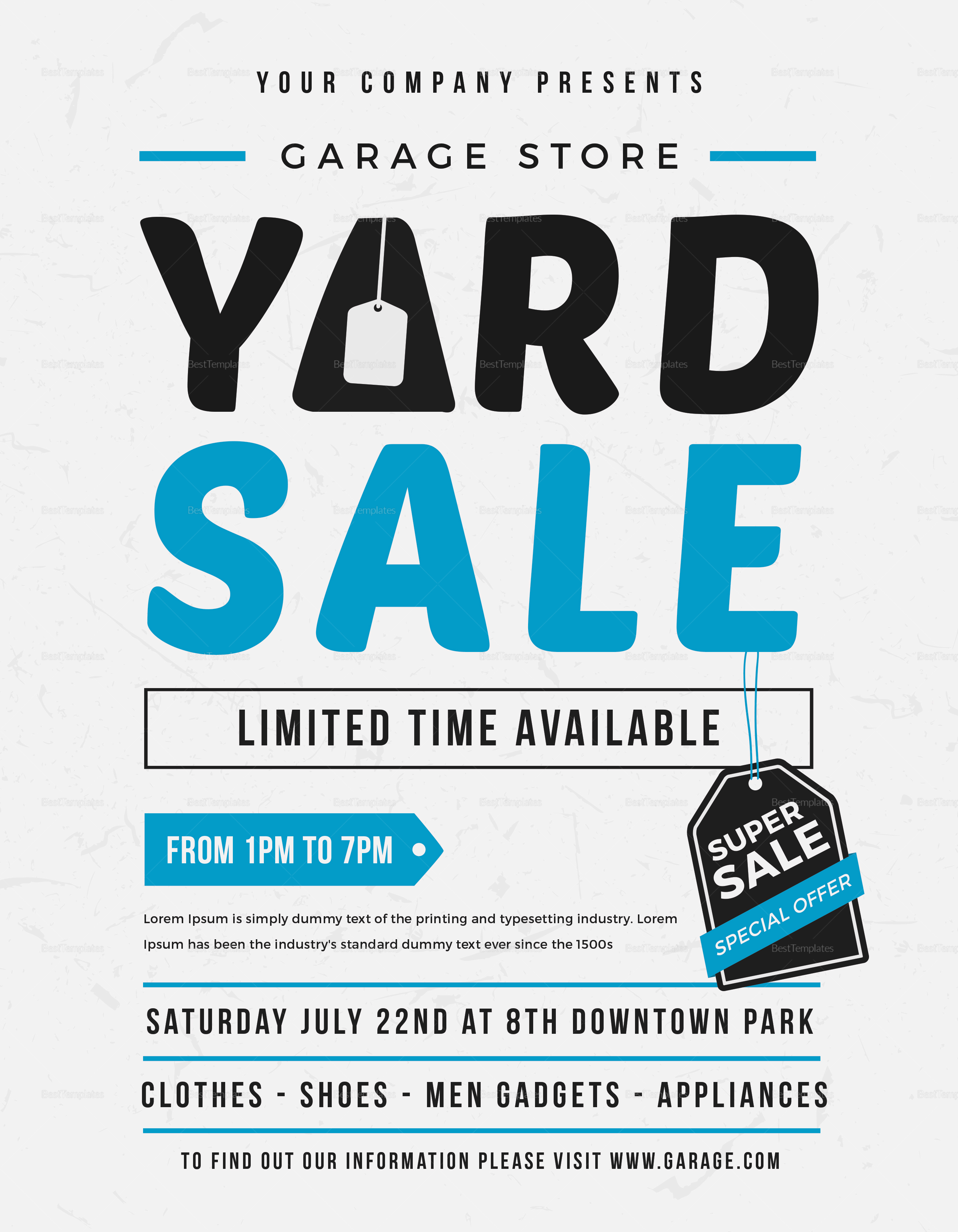 unique yard sale flyer design template in word  psd  illustrator  publisher