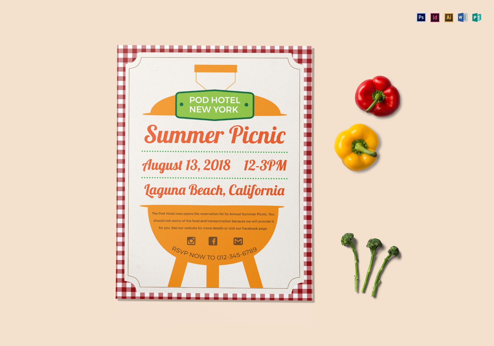 summer picnic flyer design template in psd  word