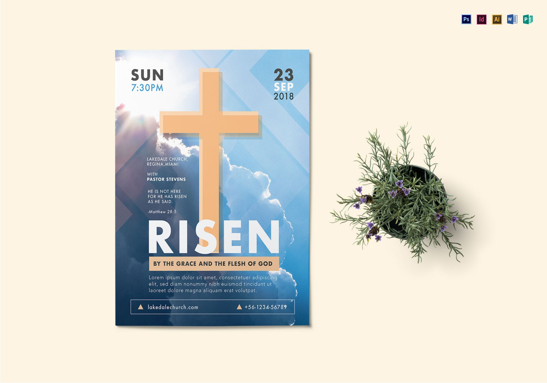 Risen Church Flyer Design Template In PSD Word Publisher