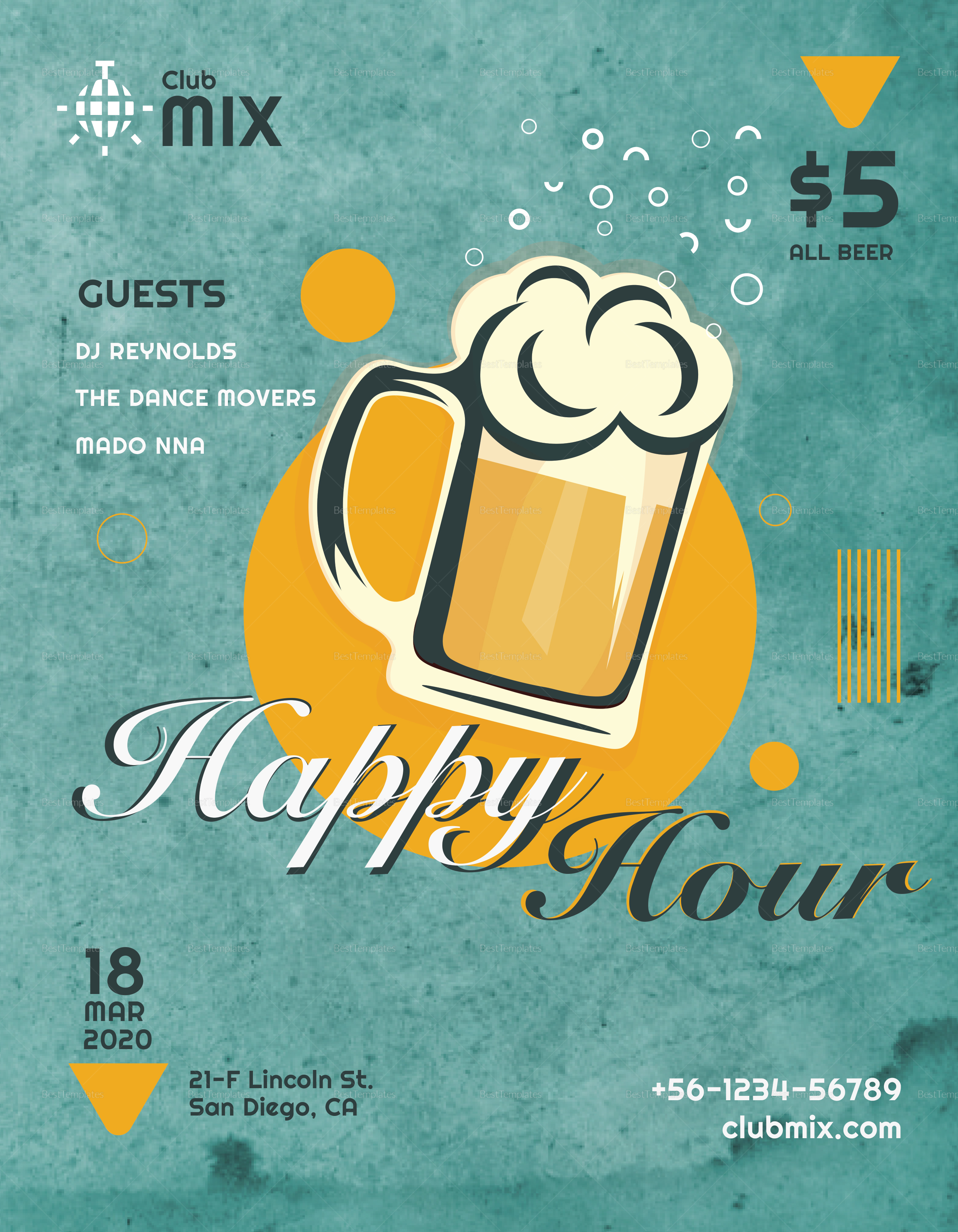 Vintage Happy Hour Flyer Template