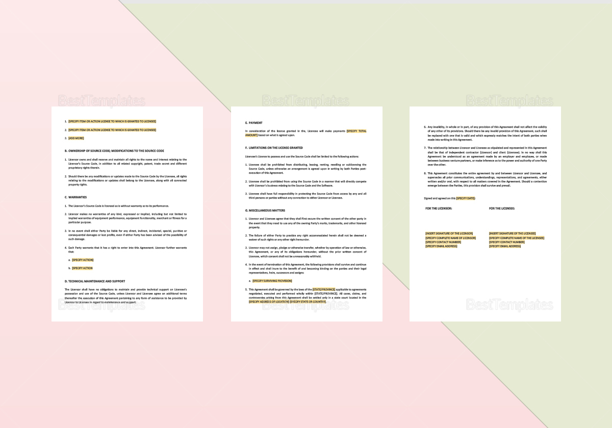Sample Source Code License Agreement Template