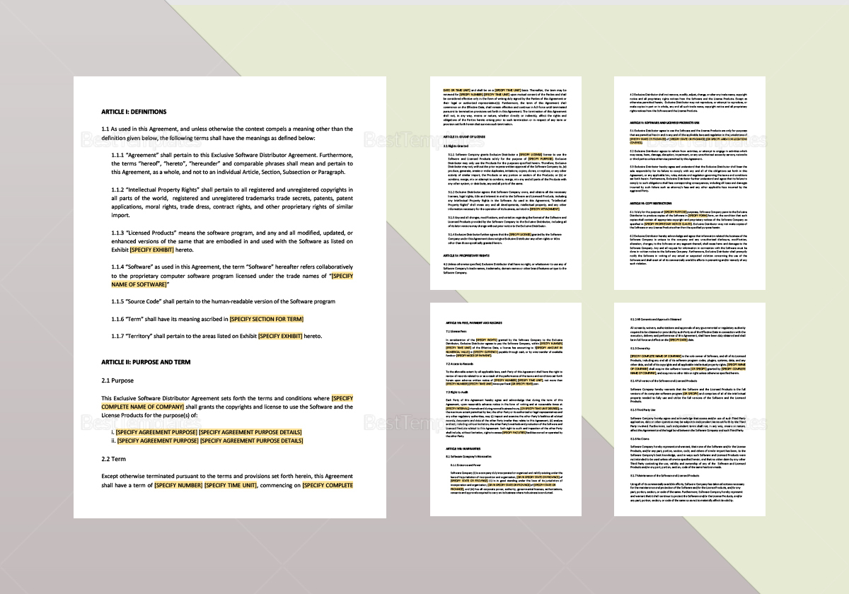 Exclusive Software Distribution Agreement Template
