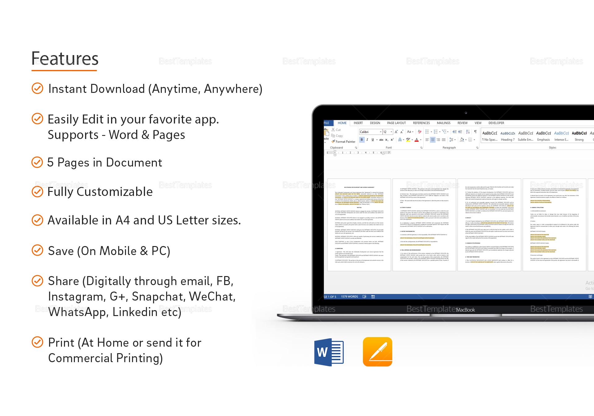 Sample Multimedia Development and License Agreement