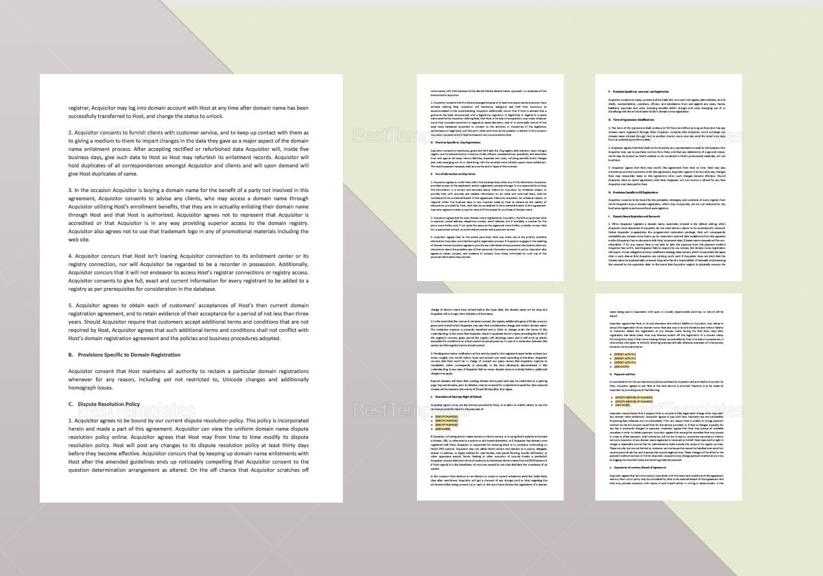 Domain Name Registration Agreement Template