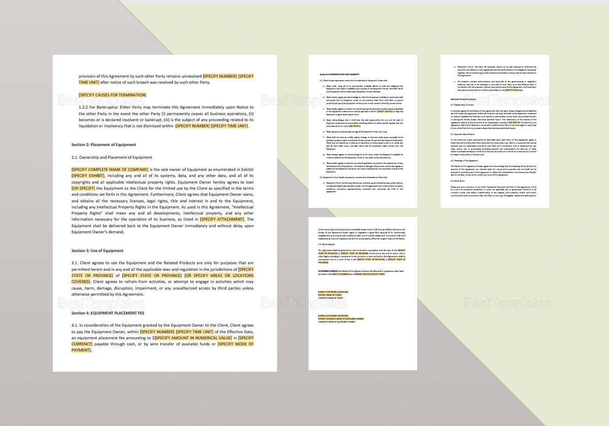 Equipment Placement Agreement Template