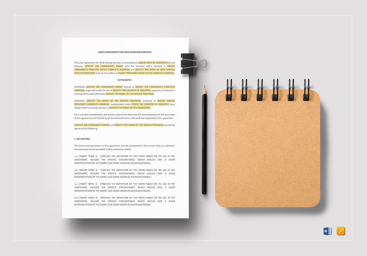 User Agreement for Web Hosting Service