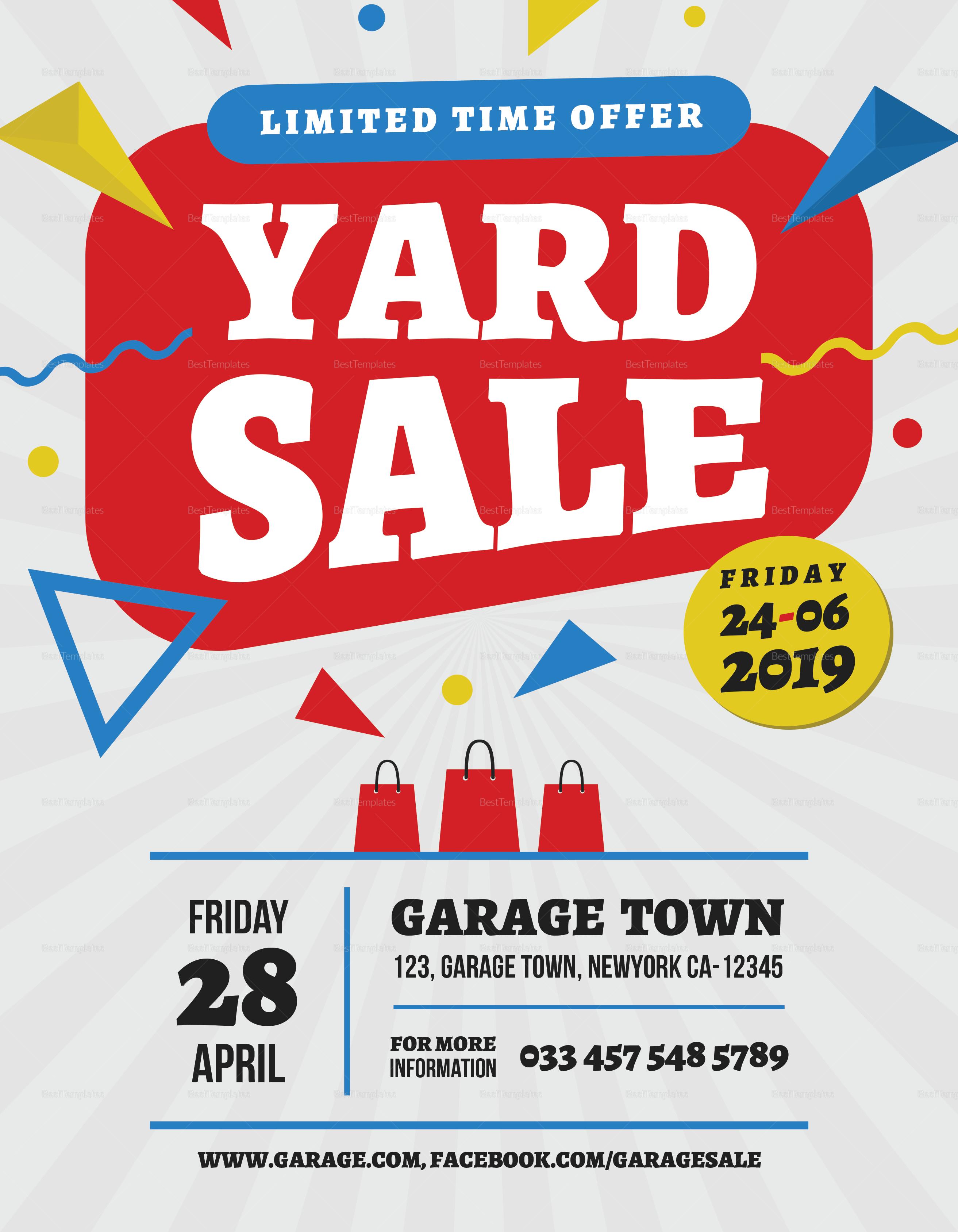 yard sale premium flyer design template in word  psd