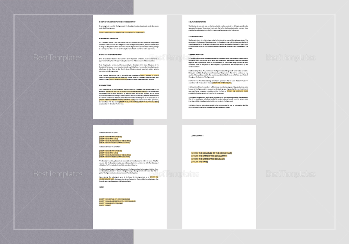 Website Design Consultation Agreement Template