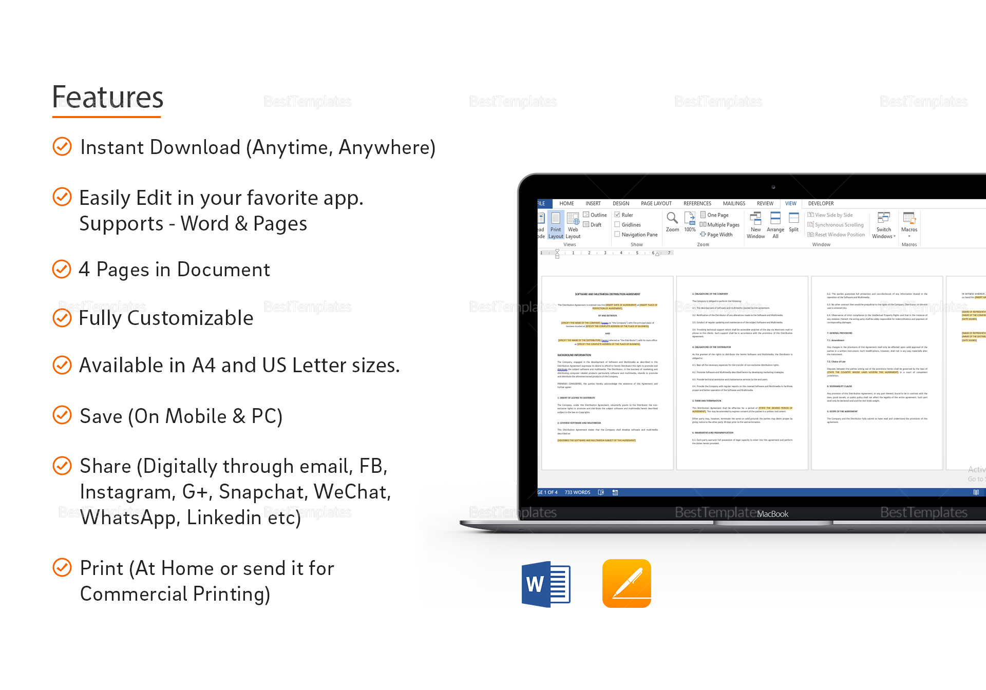 Software and Multimedia Distribution Agreement Template in ...