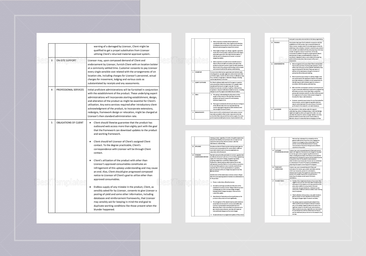 Software Maintenance Agreement Template In Word Apple Pages
