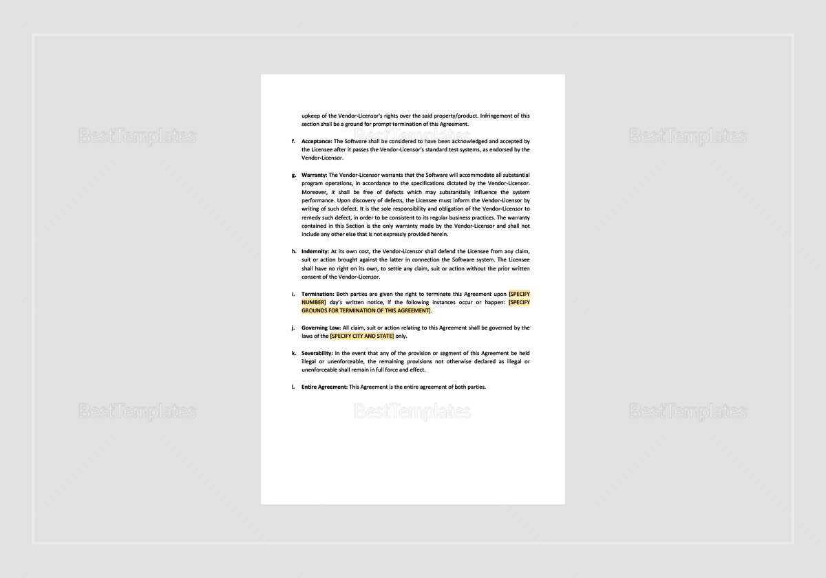 Vendor-Oriented Software License Agreement Template