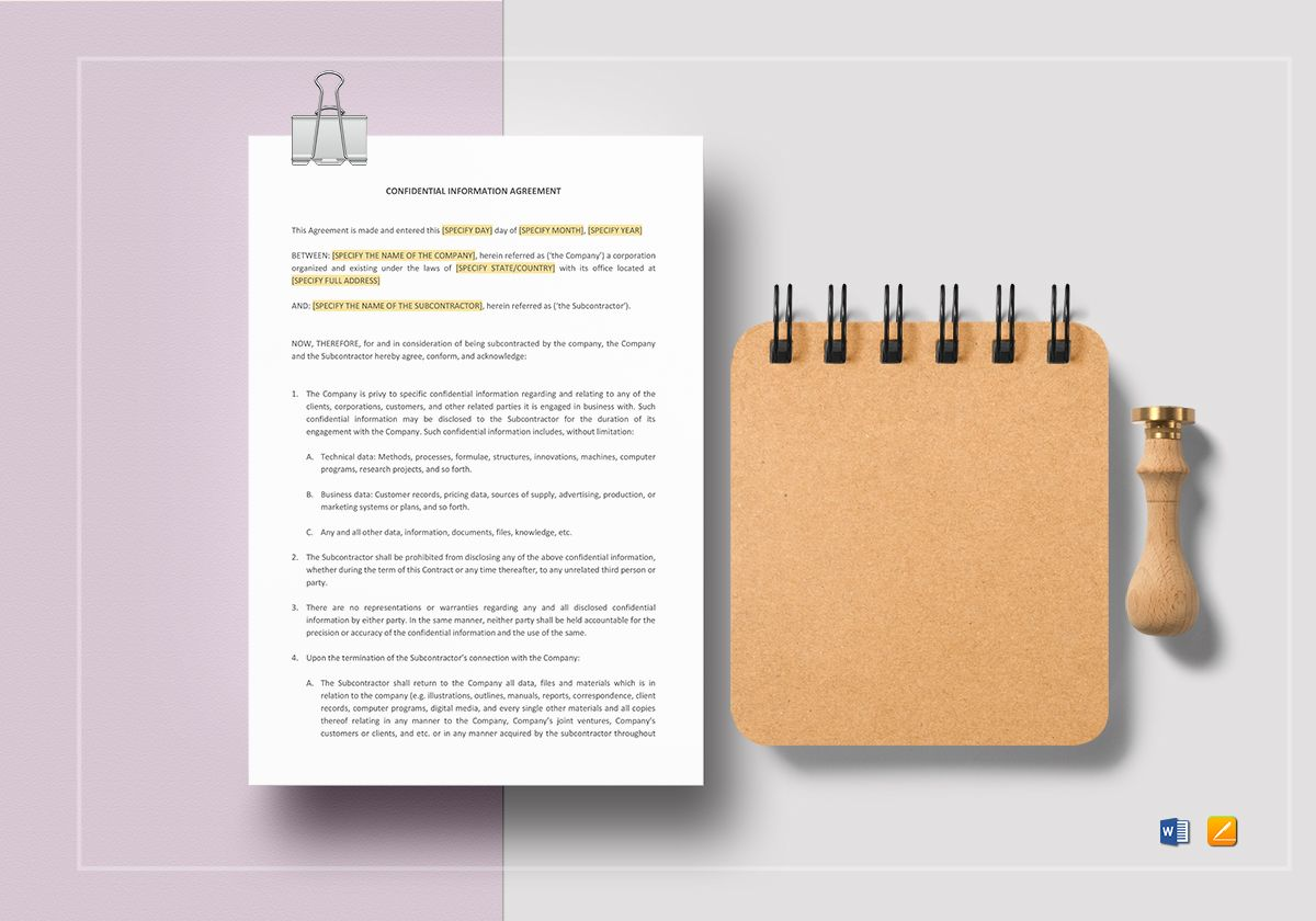 Confidential Information Agreement Template In Word Apple Pages