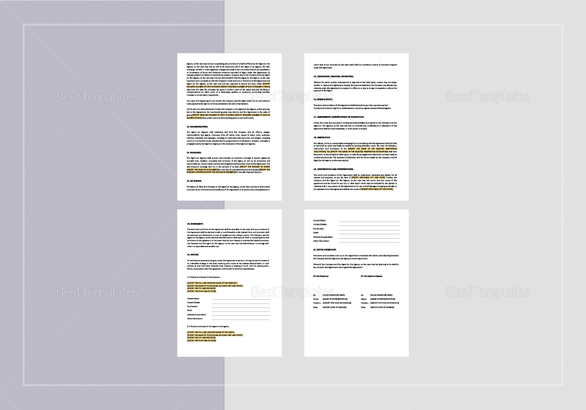 Sample Chief Agent Agreement Short Form