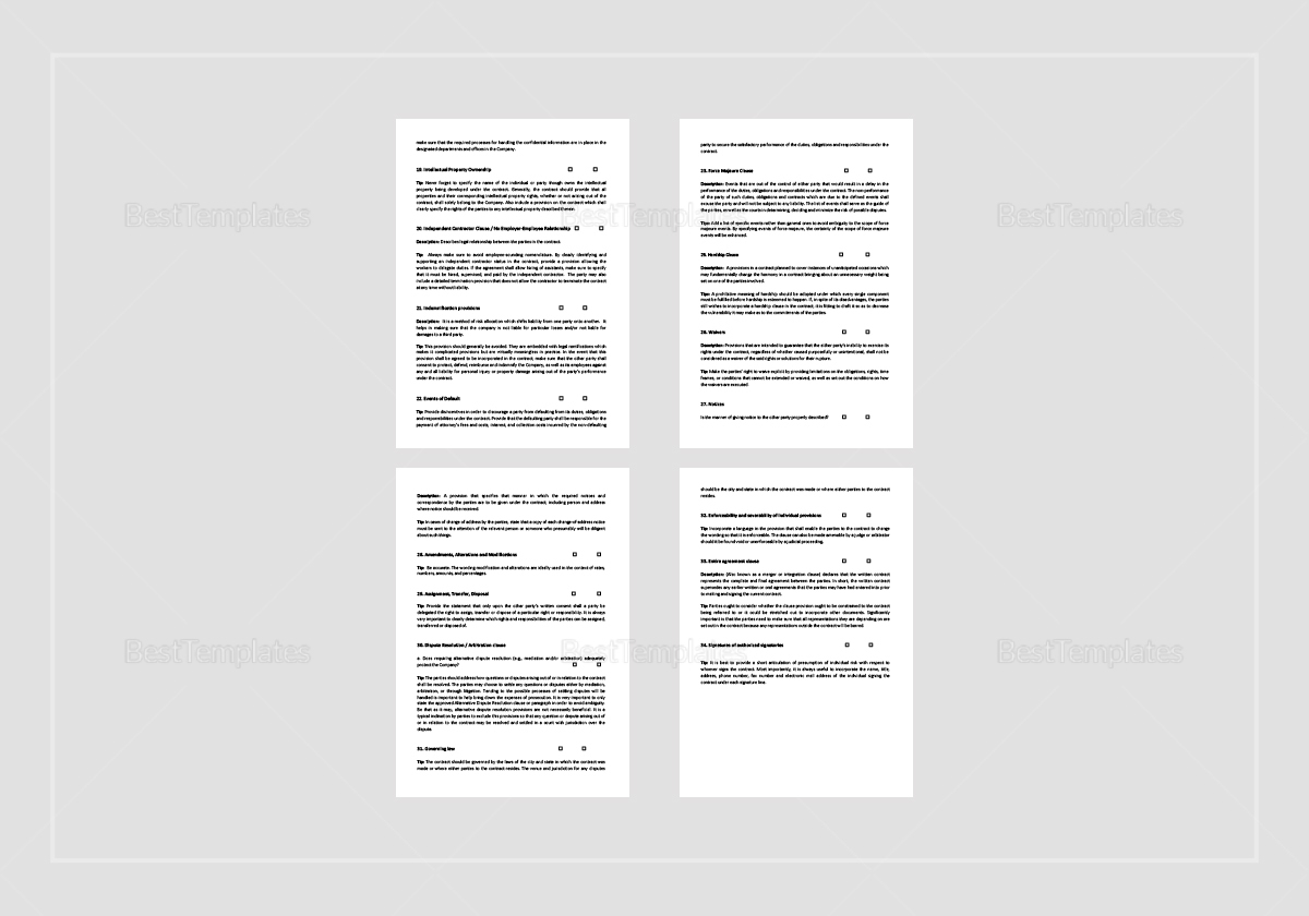 Sample Contract Terms and Provisions Checklist