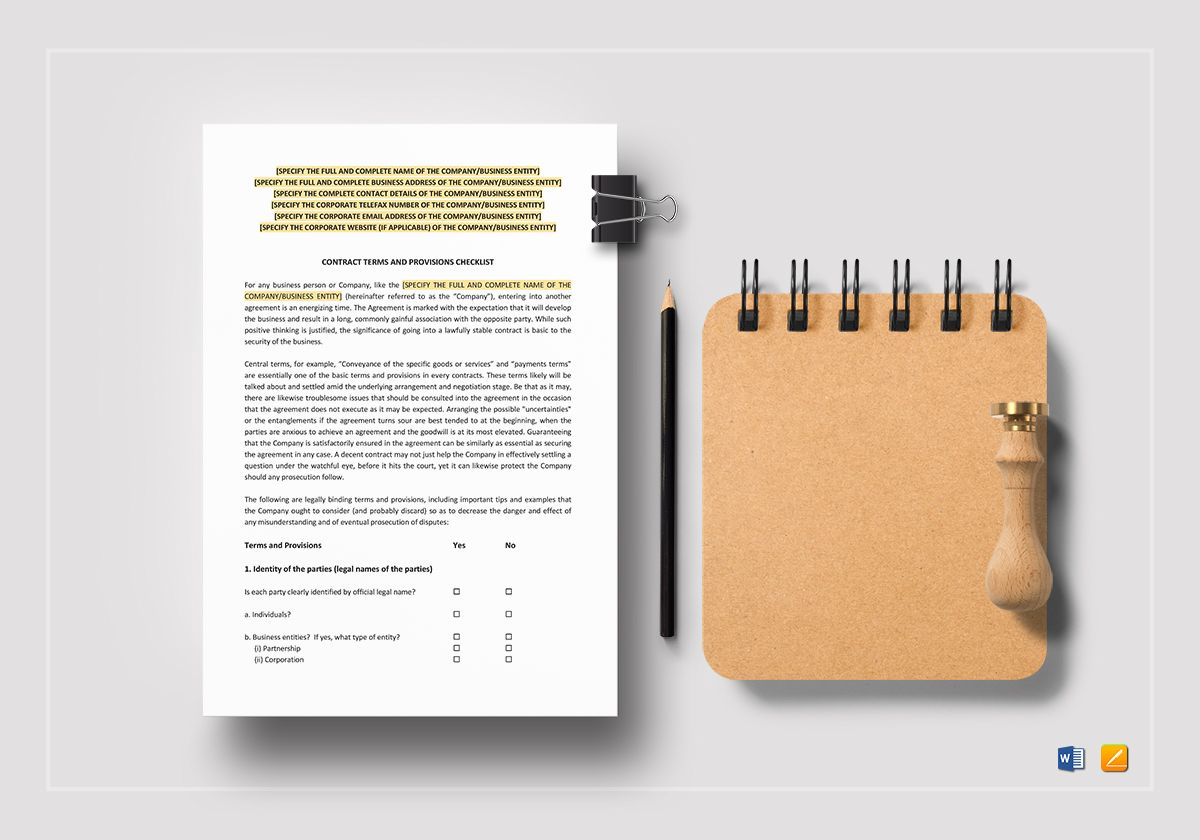Contract Terms and Provisions Checklist