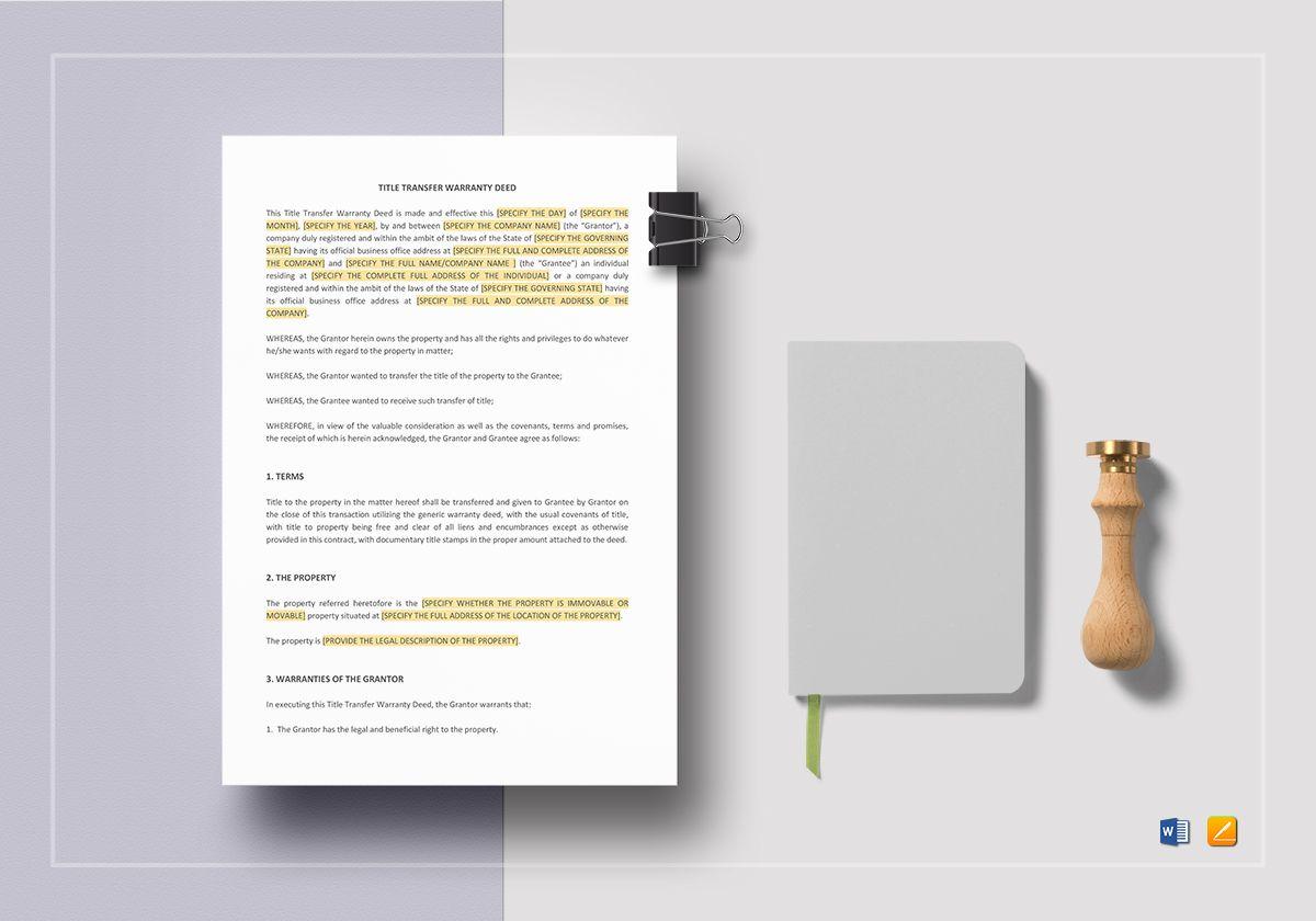 Title Transfer Warranty Deed Template