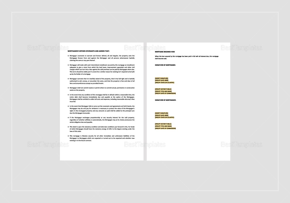Sample Mortgage Deed Template