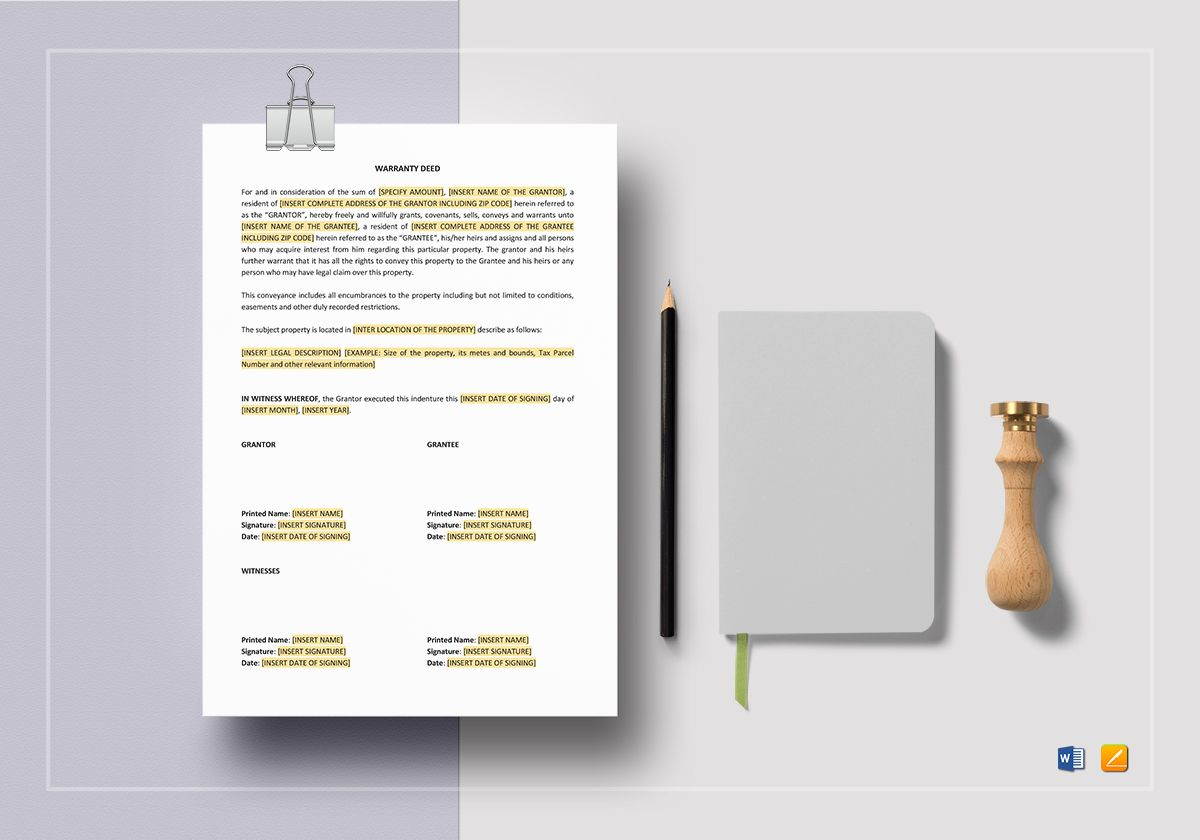 Warranty Deed Template In Word Apple Pages