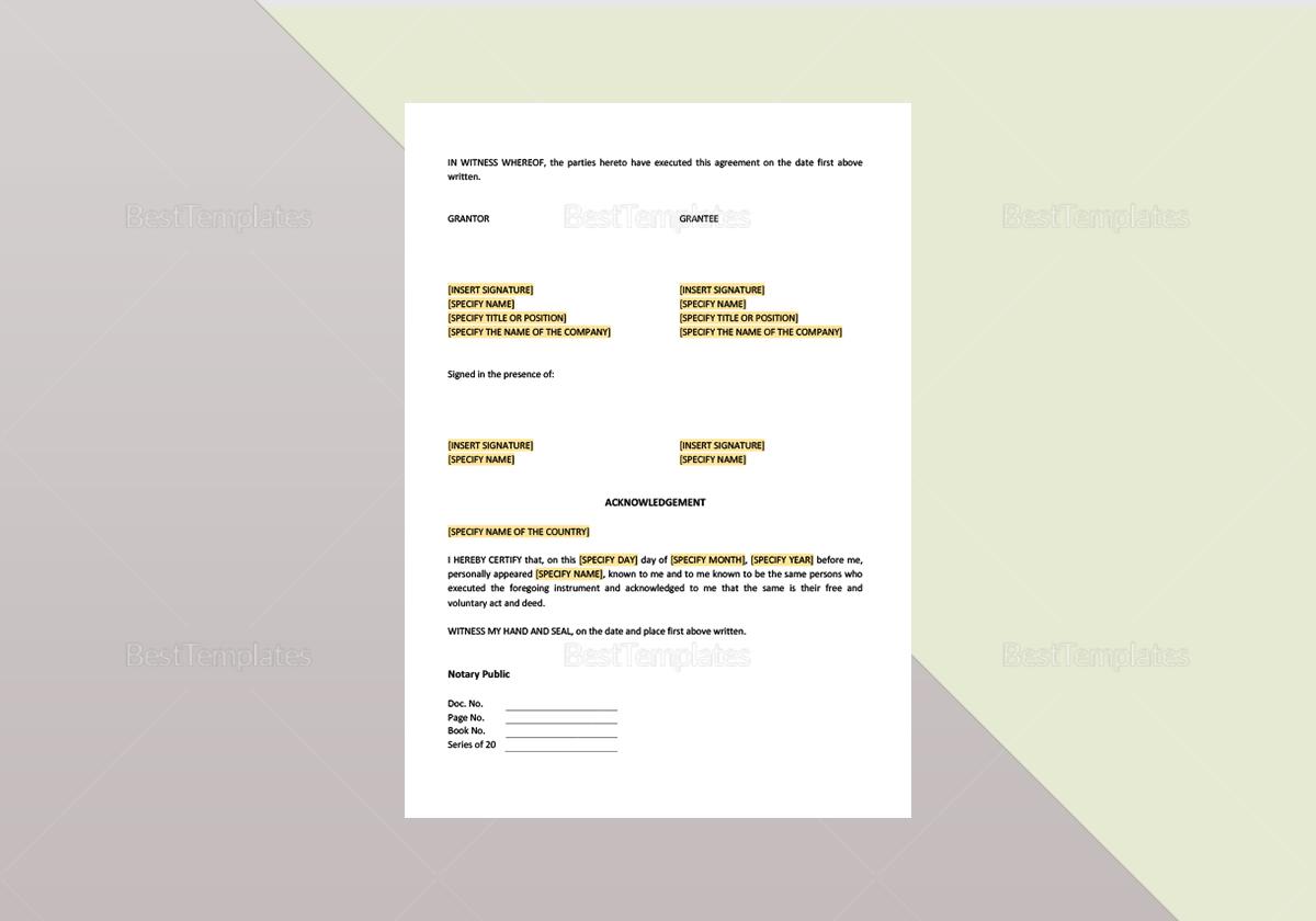 Deed Granting Easement Template