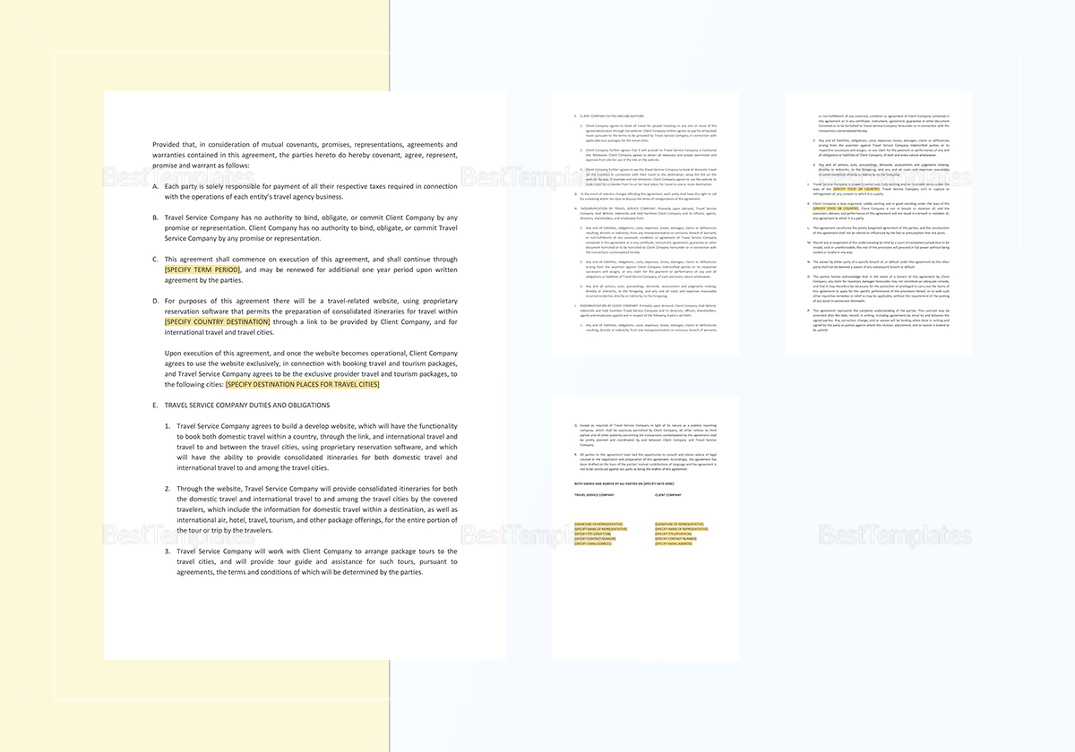 Travel Services Agreement Template