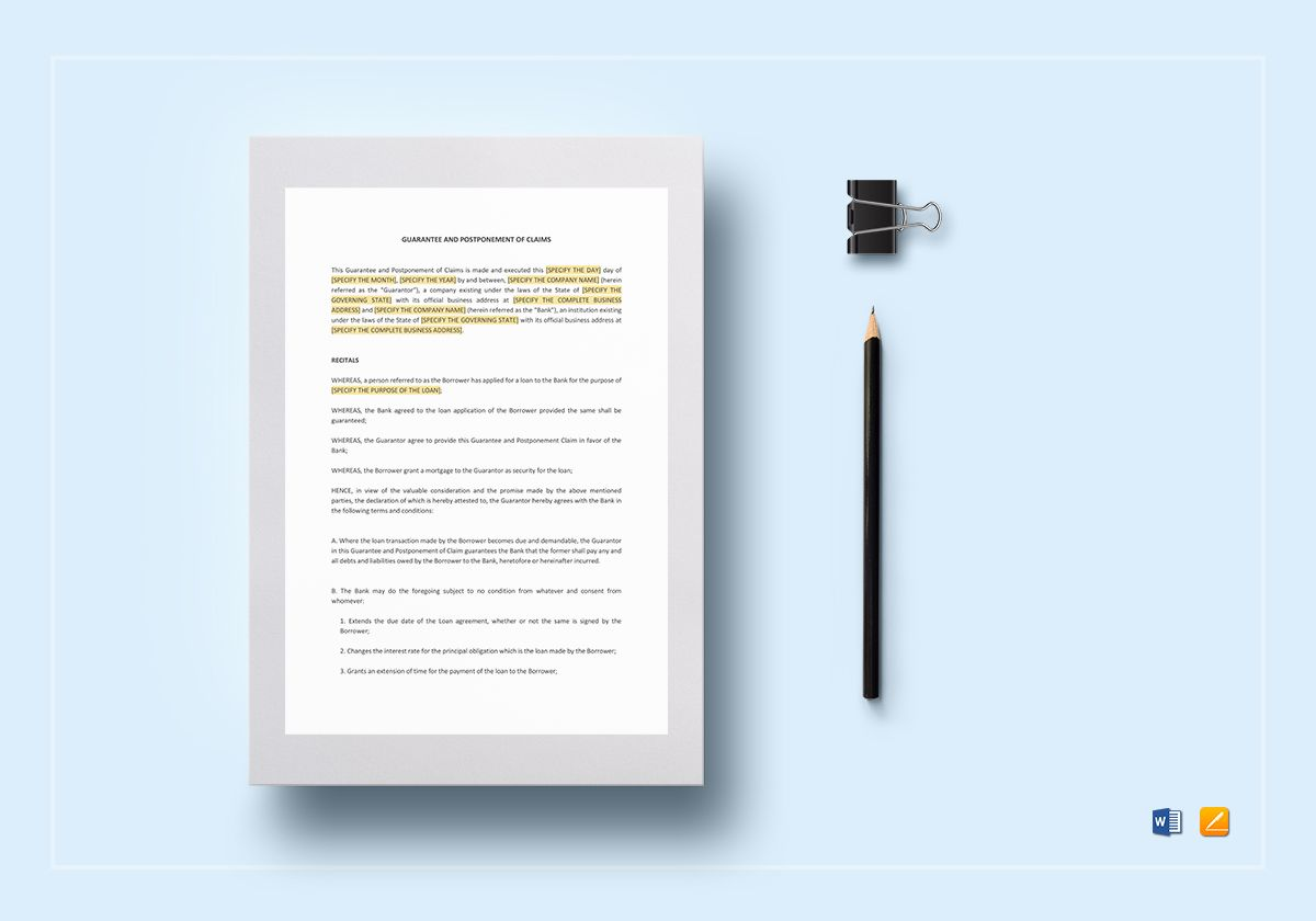Guarantee and Postponement of Claims Template