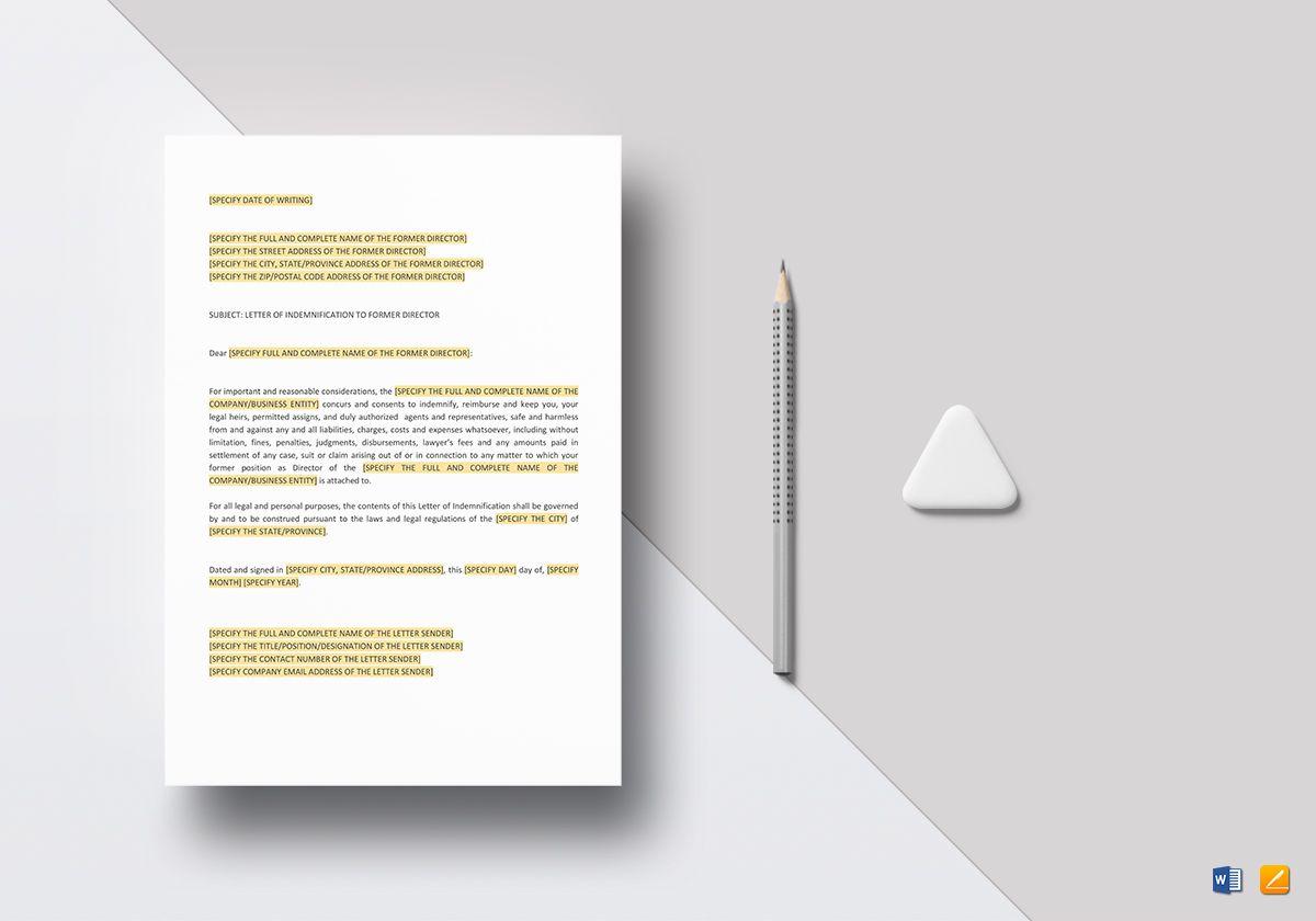 Letter of Indemnification to Former Director