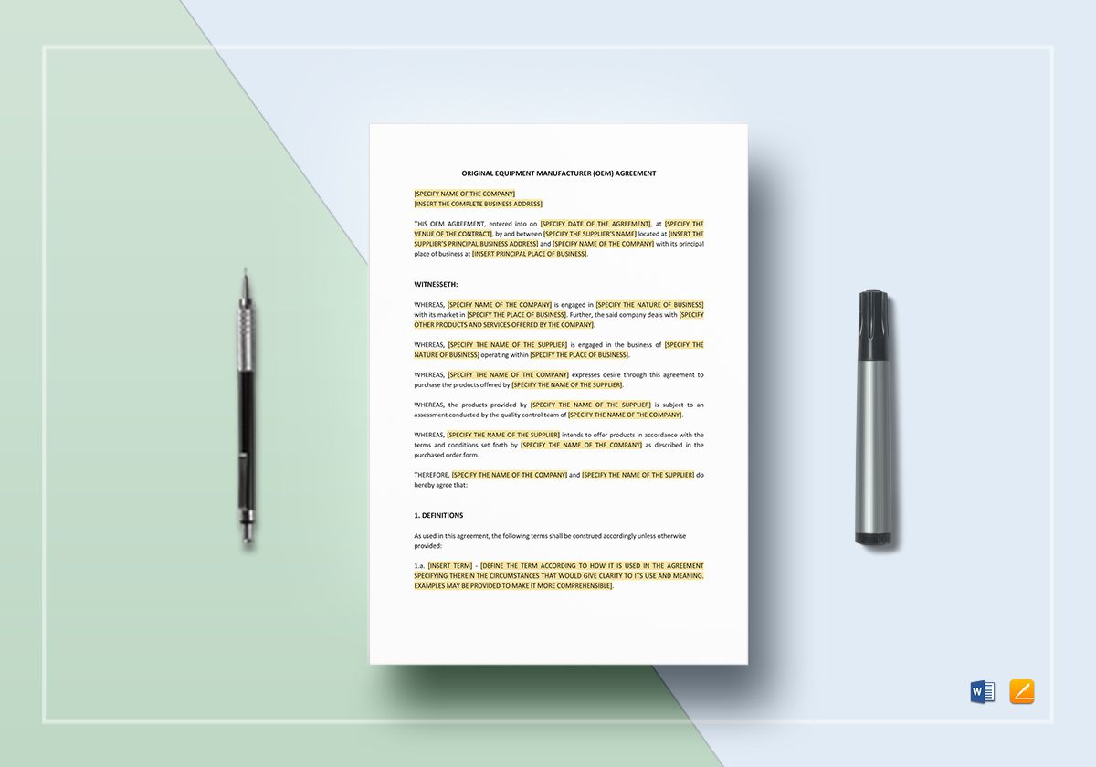 OEM Agreement Template