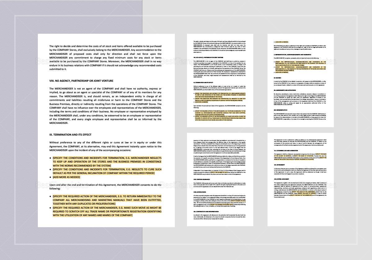 Sample Merchandising and Marketing Agreement