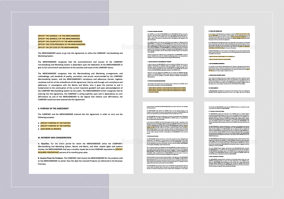 Merchandising And Marketing Agreement Template In Word Apple Pages
