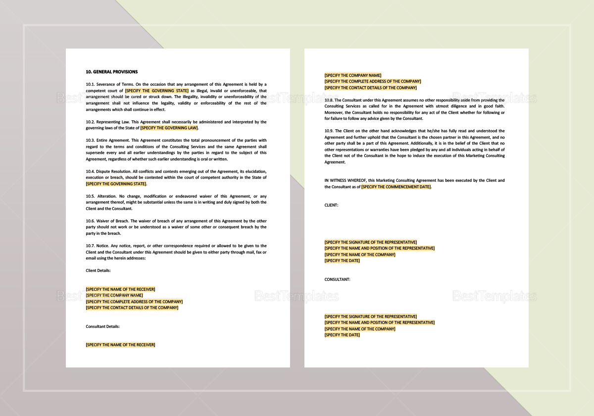 Sample Marketing Consulting Agreement