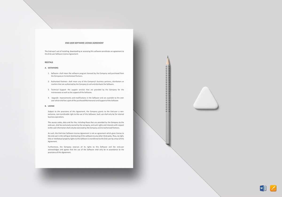 Sample End User Software License Agreement Template