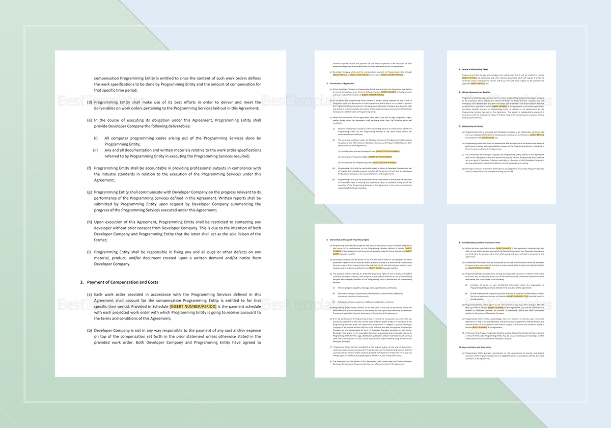 Sample Independent Contractor Agreement For Programming Services