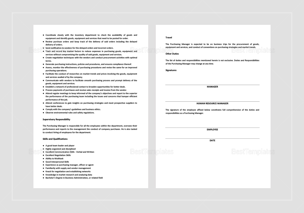 Exceptional Purchasing Manager Job Description; Purchasing Manager Job Description  Template ...