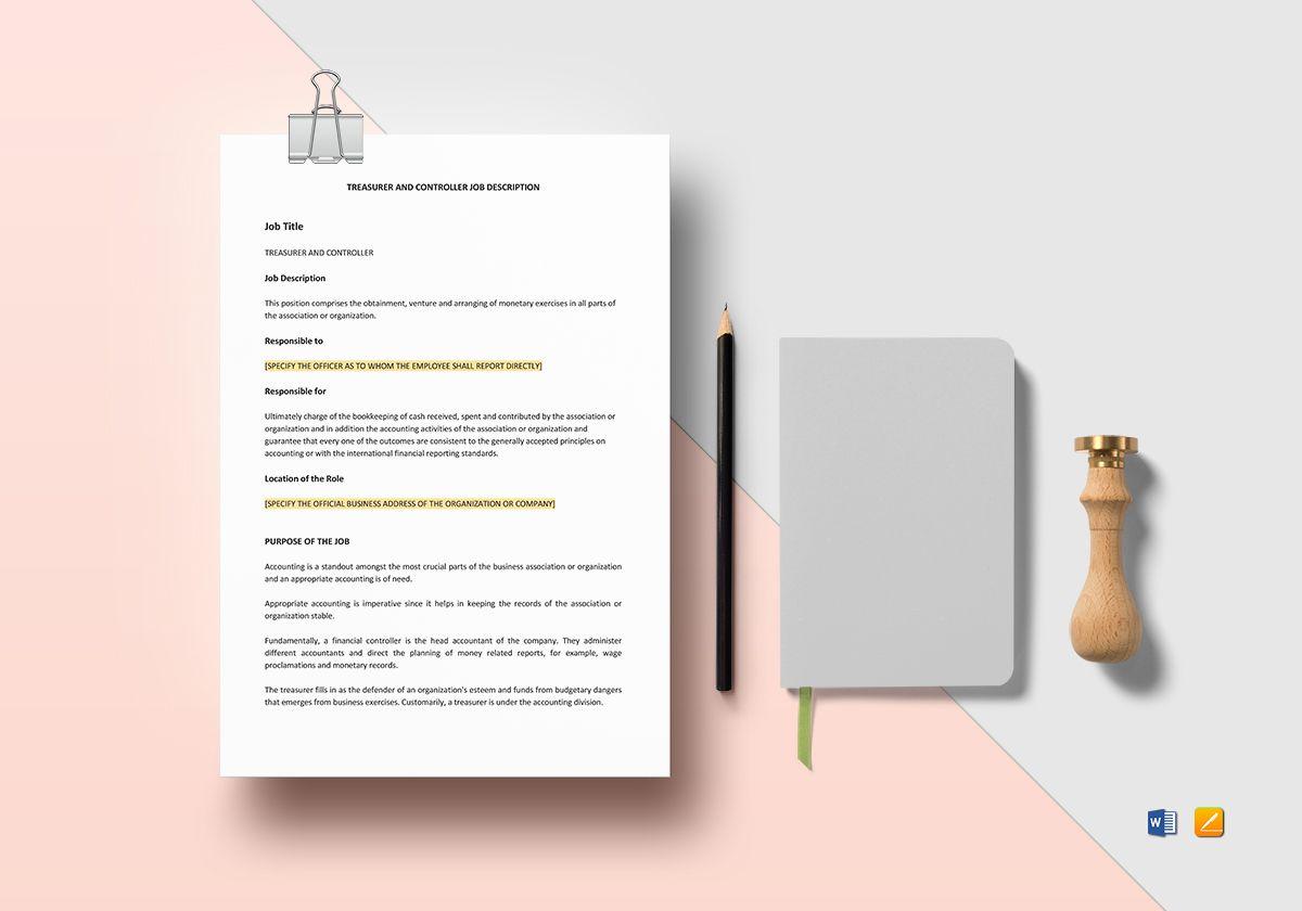 Treasurer and Controller Job Description